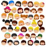 设置动画片儿童头 免版税库存照片