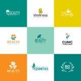 Комплект шаблонов логотипа красоты и природы Цветки и листья Стоковое Изображение RF