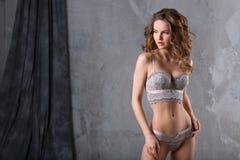 一名性感的妇女的画象女用贴身内衣裤的 库存图片