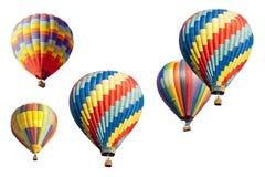 一套在白色的热空气气球 免版税库存图片