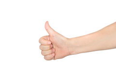большой пец руки изолированный рукой вверх Стоковые Изображения RF