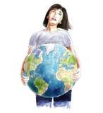 Γυναίκα που φέρνει το παγκόσμιο σκίτσο Στοκ Εικόνες