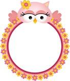 与花框架的猫头鹰 免版税库存照片