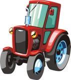Красный трактор шаржа Стоковые Изображения