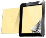 Υπολογιστής ταμπλετών με τις ευθυγραμμισμένες σελίδες Στοκ εικόνα με δικαίωμα ελεύθερης χρήσης