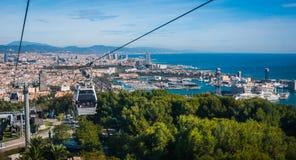 缆车视图在巴塞罗那,西班牙 库存照片