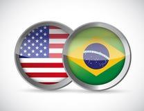 σχέδιο απεικόνισης σφραγίδων ένωσης των ΗΠΑ και της Βραζιλίας Στοκ Εικόνες