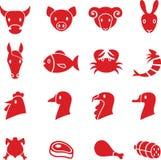 Εικονίδια κρέατος Στοκ Φωτογραφία