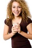 女孩牛奶 免版税库存图片