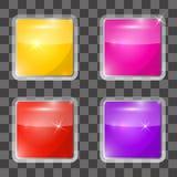 五颜六色的被设置的传染媒介正方形玻璃按钮 免版税库存照片