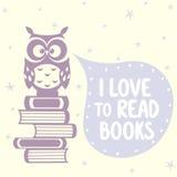 逗人喜爱的猫头鹰和书 库存图片