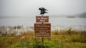 Предупредительный знак хищников в болотистых низменностях национальном парке, Флориде Стоковые Изображения