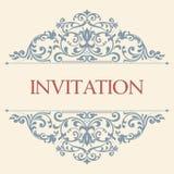 Винтажная поздравительная открытка, приглашение с флористическими орнаментами Стоковые Фотографии RF