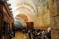 西部墙壁(哭墙),耶路撒冷在晚上 库存照片