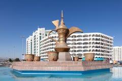咖啡壶纪念碑在富查伊拉 免版税库存图片