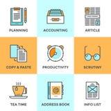 Обработка документов в линии установленных значках офиса Стоковые Изображения
