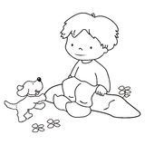 男孩和狗,上色 免版税库存图片