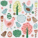 逗人喜爱的五颜六色的无缝的复活节春天样式,鸡蛋,母鸡 免版税库存图片