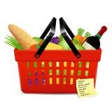 购物单和篮子用食物 免版税库存照片