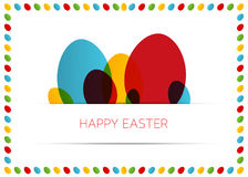 愉快的复活节卡片(海报)用五颜六色的鸡蛋 免版税库存图片