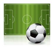 Футбол футбольного мяча и иллюстрация поля Стоковое Изображение
