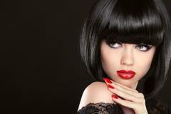 凝视 时装模特儿女孩面孔,秀丽妇女组成 免版税库存图片