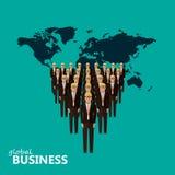 Плоская иллюстрация руководителя и команды Толпа людей Стоковая Фотография RF