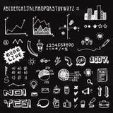 乱画手拉的信息图表元素和字体 免版税库存照片