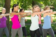 Группа фитнеса разрабатывая в парке Стоковые Фотографии RF