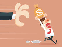 Сумка денег руки хватая Стоковые Фото