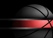 在黑色背景的篮球 免版税图库摄影