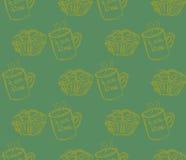 手拉的早餐例证 模式无缝的向量 库存照片