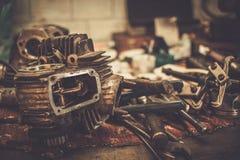 一部分的摩托车引擎 图库摄影