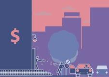 Ограбление банка или вооружённое ограбление в прогрессе Пиктограмма/плоский стиль дизайна Стоковая Фотография RF
