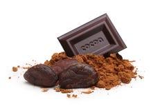 在被隔绝的箔的黑暗的巧克力块 免版税库存照片