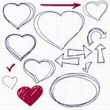 Συρμένη χέρι καρδιά κακογραφίας Στοκ Εικόνα