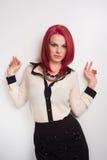 与生动的红色头发的模型 库存照片