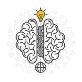 脑子的剪影在白色背景的 免版税库存照片