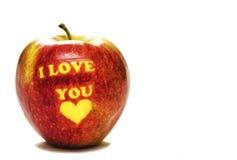 Яблоко я тебя люблю Стоковая Фотография