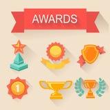 Установленные значки трофея и наград Плоский стиль Стоковые Фото