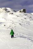 Ένα γενναίο μικρό παιδί που προσπαθεί να αναρριχηθεί σε έναν βράχο Στοκ φωτογραφίες με δικαίωμα ελεύθερης χρήσης