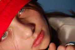 女孩帽子红色 免版税图库摄影
