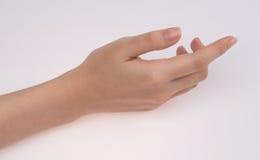 Χέρι γυναικών που απομονώνεται στο άσπρο υπόβαθρο Στοκ εικόνα με δικαίωμα ελεύθερης χρήσης