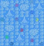 Άνευ ραφής υπόβαθρο σχεδίων βακκινίων ψάρια και σκάφος Στοκ Εικόνα