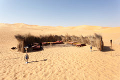 流浪的阵营在沙漠 库存图片