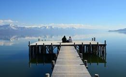 普雷斯帕湖,马其顿 库存照片