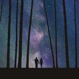 恋人在森林里 免版税库存照片