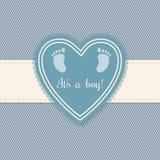 婴儿送礼会男孩的贺卡 免版税库存照片