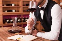 斟酒服务员审查的酒 库存图片