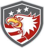 Αμερικανική φαλακρή ασπίδα σημαιών αετών επικεφαλής αναδρομική Στοκ εικόνα με δικαίωμα ελεύθερης χρήσης
